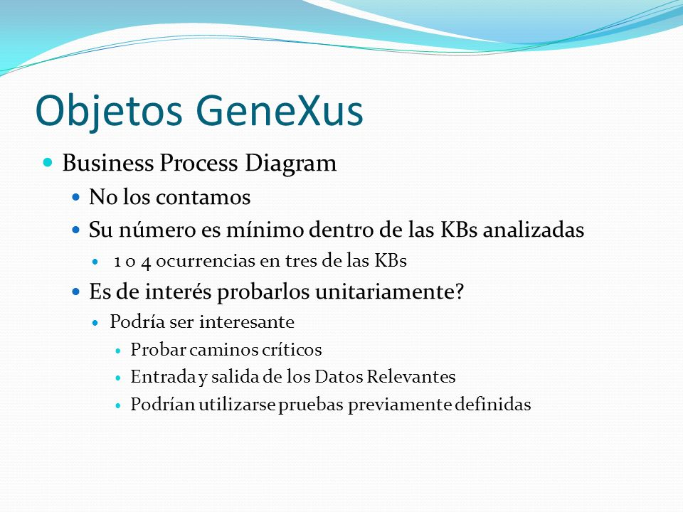 Objetos GeneXus Business Process Diagram No los contamos