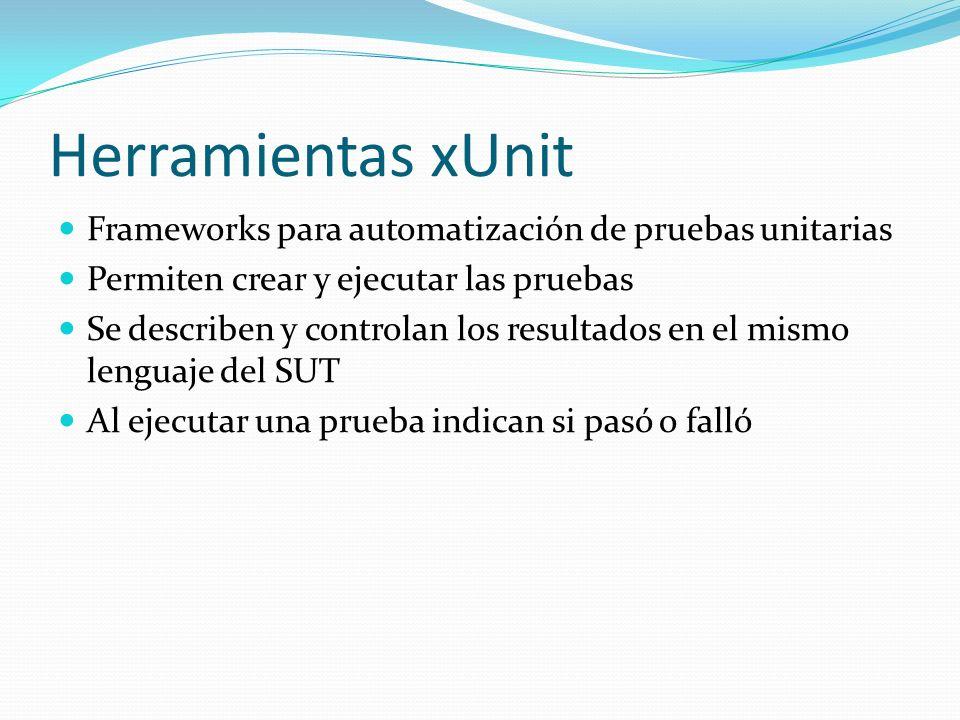 Herramientas xUnit Frameworks para automatización de pruebas unitarias