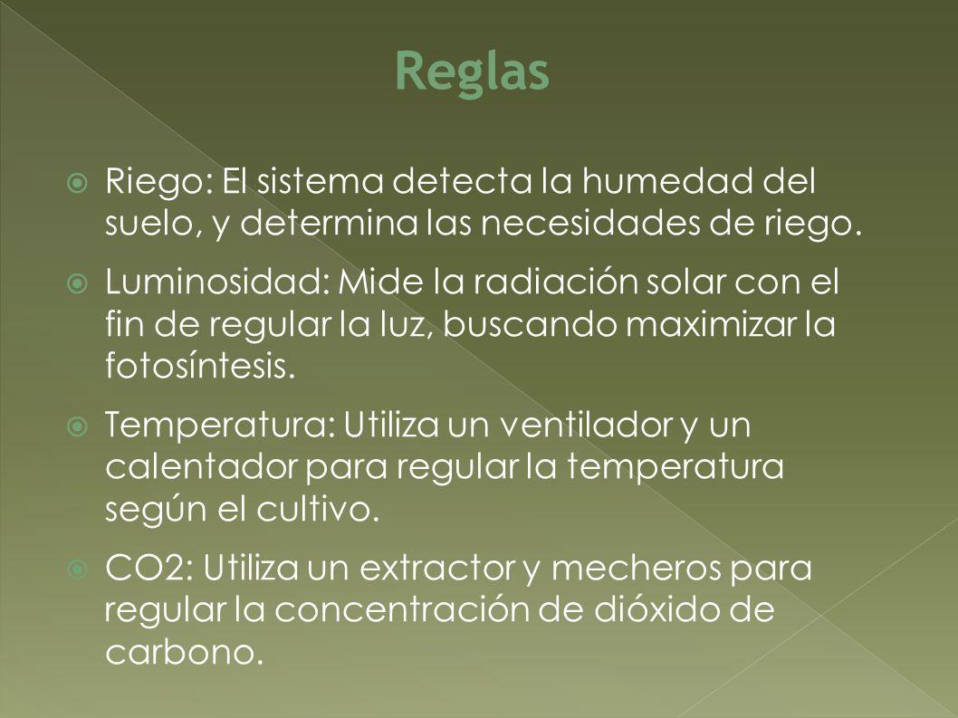 Reglas Riego: El sistema detecta la humedad del suelo, y determina las necesidades de riego.