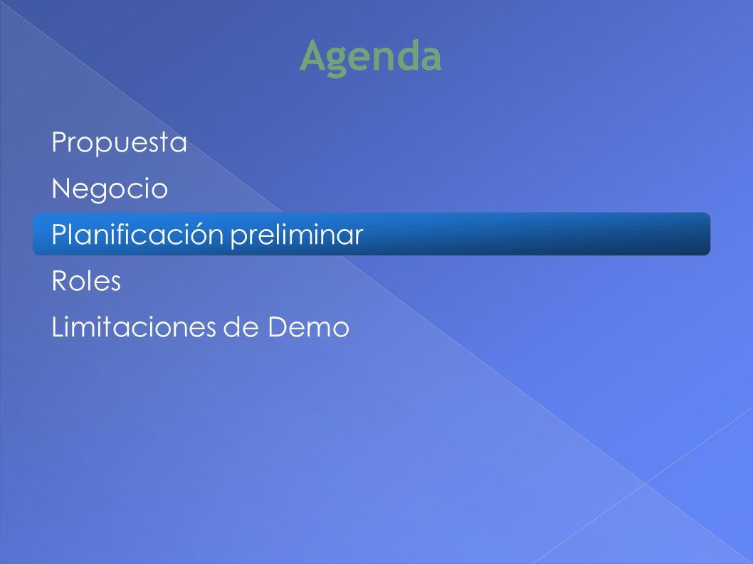 Agenda Propuesta Negocio Planificación preliminar Roles Limitaciones de Demo 14