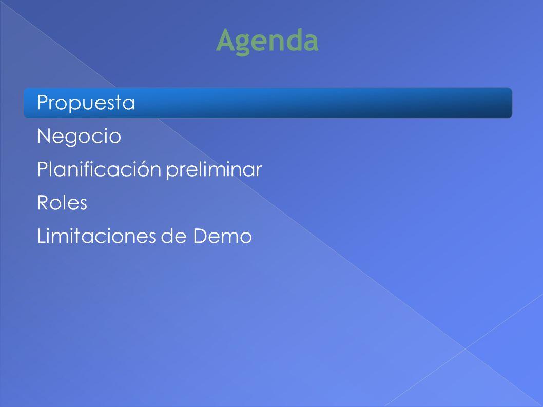 Agenda Propuesta Negocio Planificación preliminar Roles Limitaciones de Demo 2
