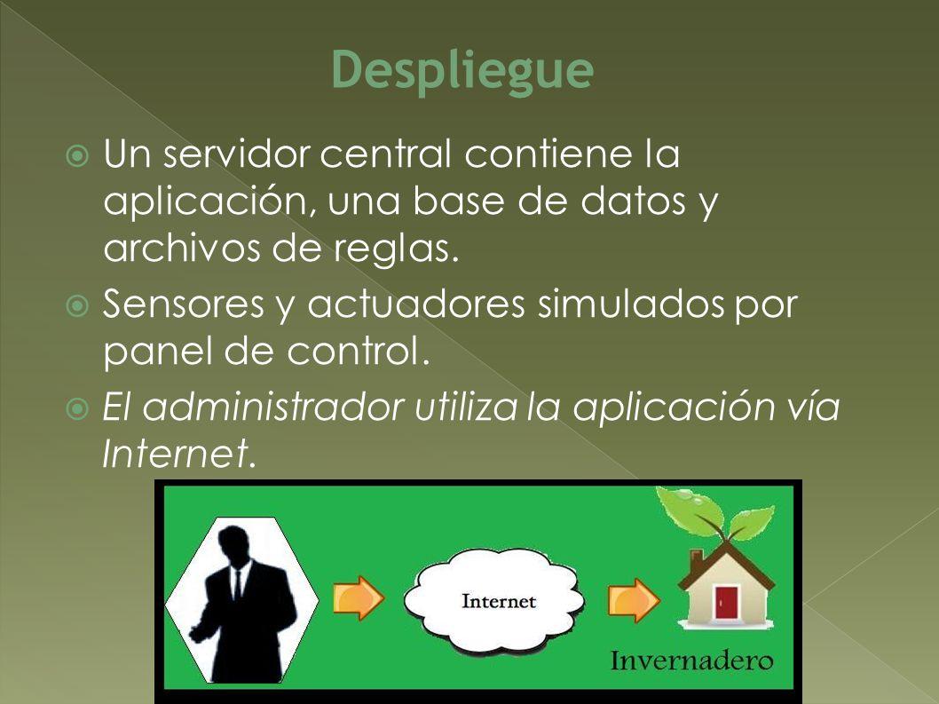 Despliegue Un servidor central contiene la aplicación, una base de datos y archivos de reglas. Sensores y actuadores simulados por panel de control.