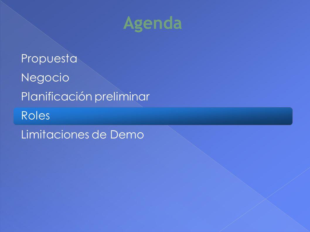 Agenda Propuesta Negocio Planificación preliminar Roles Limitaciones de Demo 24
