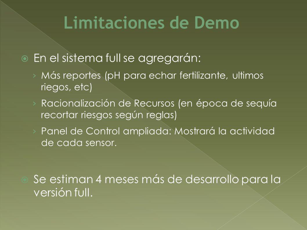 Limitaciones de Demo En el sistema full se agregarán:
