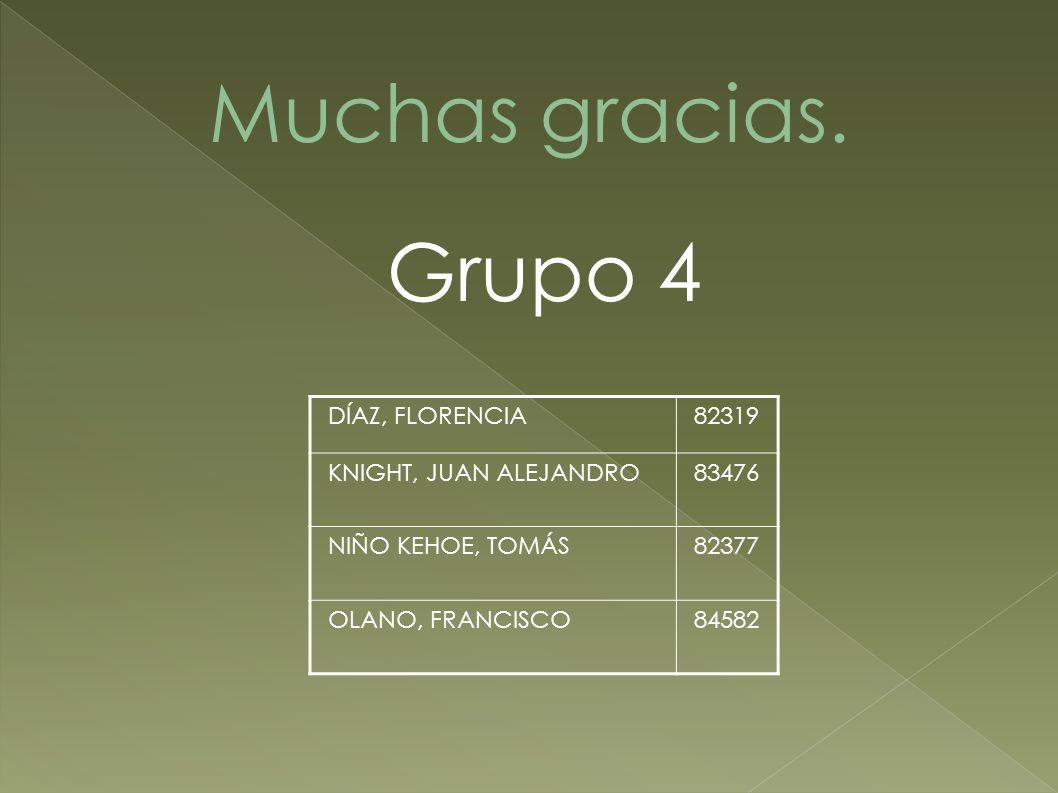 Muchas gracias. Grupo 4 DÍAZ, FLORENCIA 82319 KNIGHT, JUAN ALEJANDRO