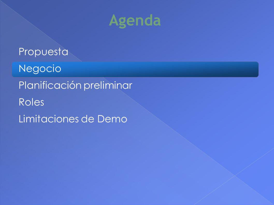 Agenda Propuesta Negocio Planificación preliminar Roles Limitaciones de Demo 8
