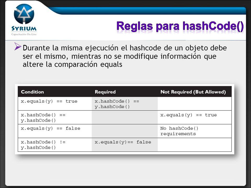 Reglas para hashCode()