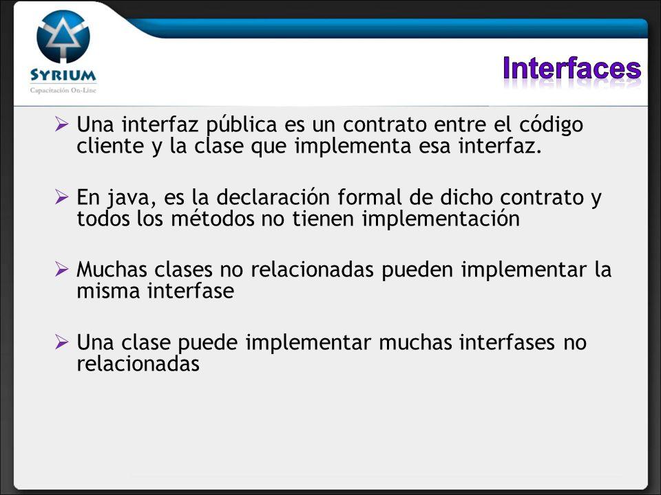 Interfaces Una interfaz pública es un contrato entre el código cliente y la clase que implementa esa interfaz.