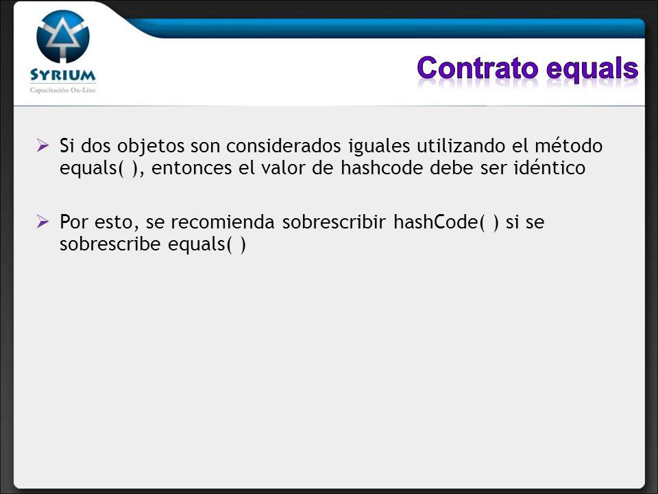 Contrato equals Si dos objetos son considerados iguales utilizando el método equals( ), entonces el valor de hashcode debe ser idéntico.