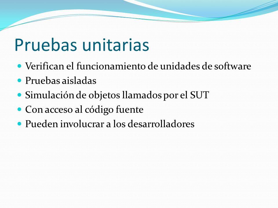 Pruebas unitarias Verifican el funcionamiento de unidades de software