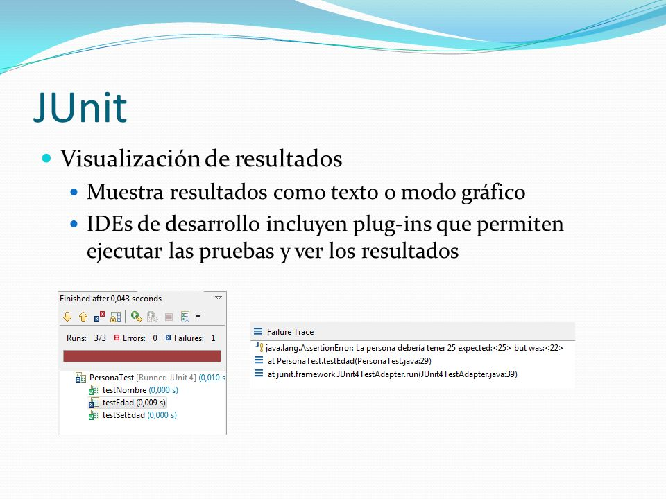 JUnit Visualización de resultados