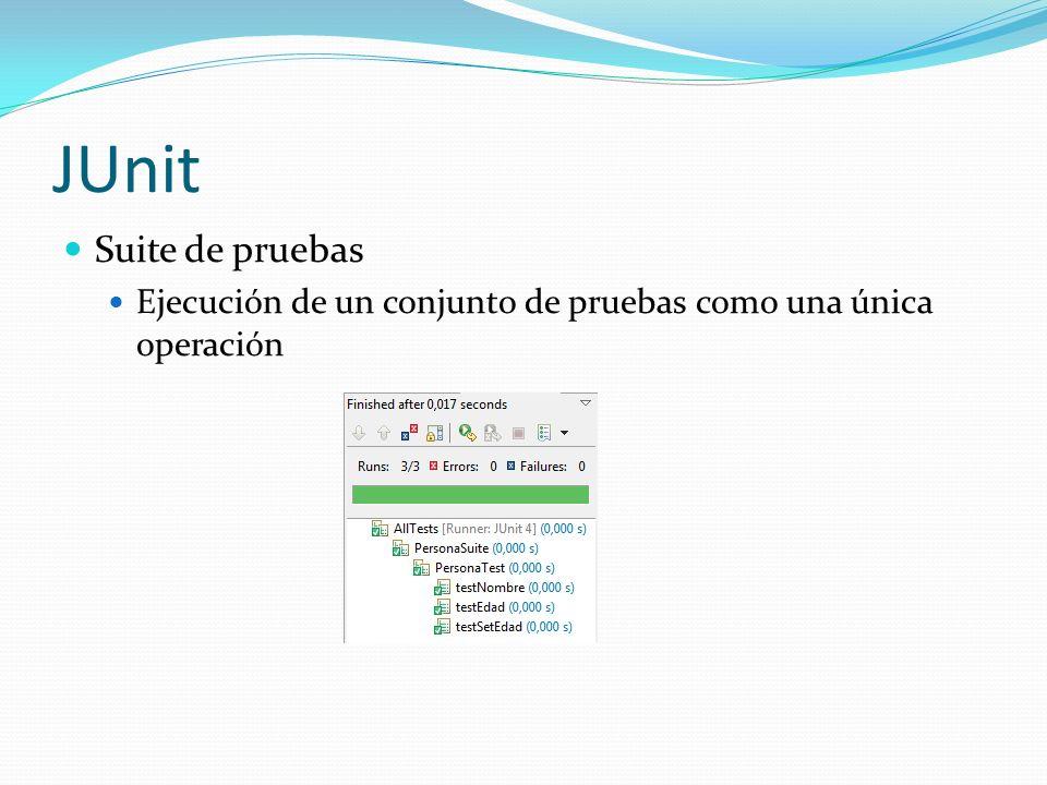 JUnit Suite de pruebas Ejecución de un conjunto de pruebas como una única operación Árbol de suites