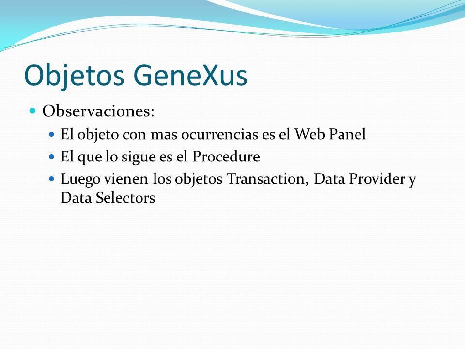 Objetos GeneXus Observaciones: