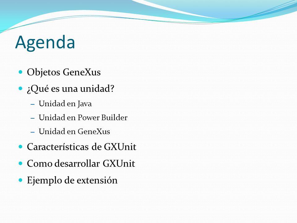 Agenda Objetos GeneXus ¿Qué es una unidad Características de GXUnit