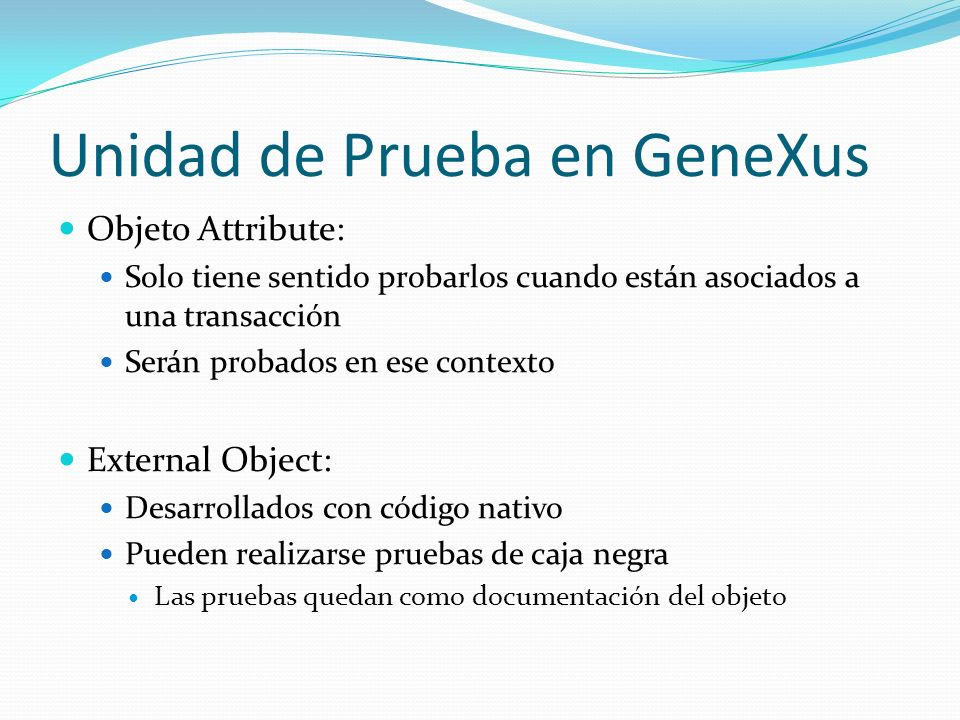 Unidad de Prueba en GeneXus