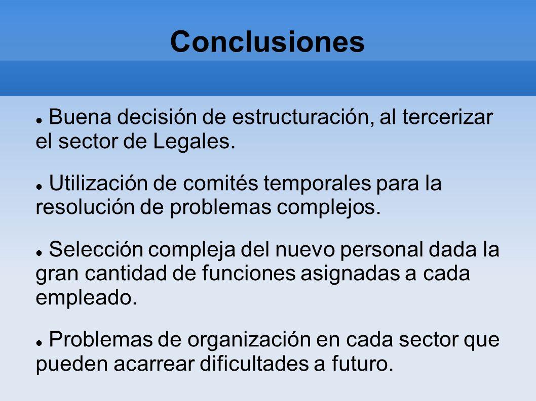 Conclusiones Buena decisión de estructuración, al tercerizar el sector de Legales.