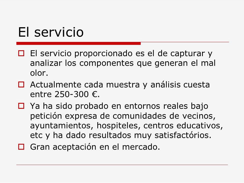 El servicioEl servicio proporcionado es el de capturar y analizar los componentes que generan el mal olor.