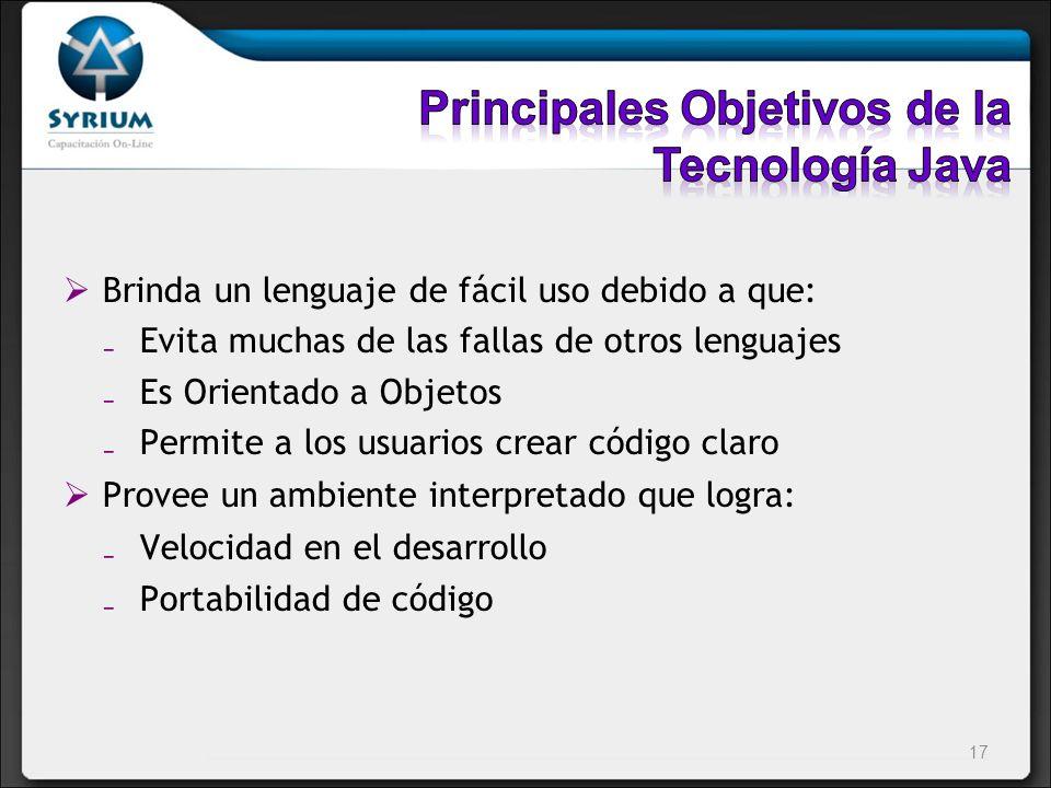 Principales Objetivos de la Tecnología Java