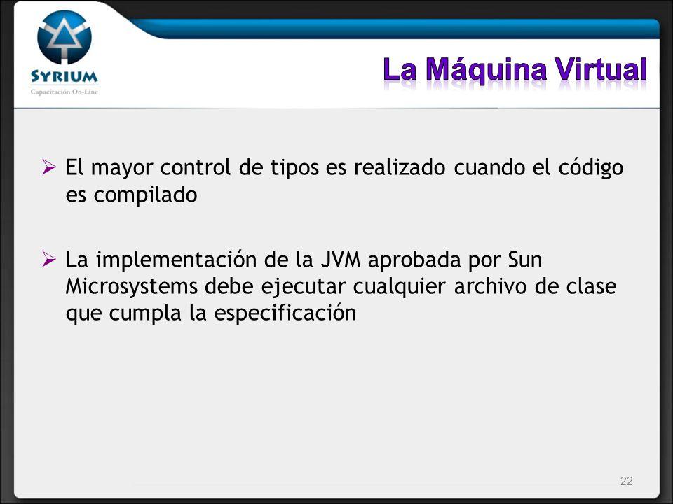 La Máquina Virtual El mayor control de tipos es realizado cuando el código es compilado.