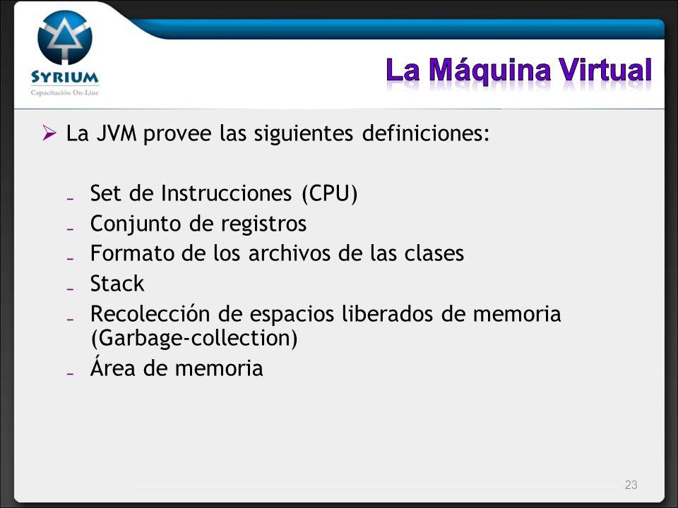 La Máquina Virtual La JVM provee las siguientes definiciones: