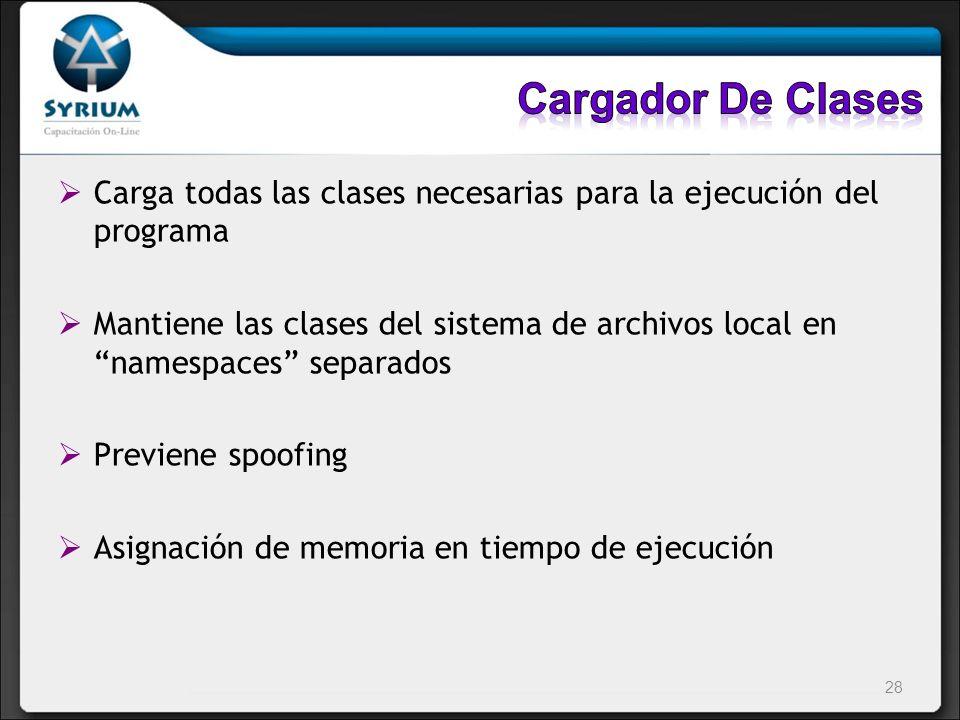 Cargador De Clases Carga todas las clases necesarias para la ejecución del programa.
