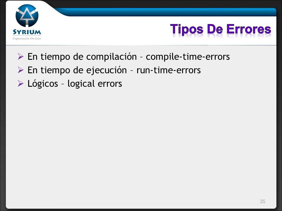 Tipos De Errores En tiempo de compilación – compile-time-errors