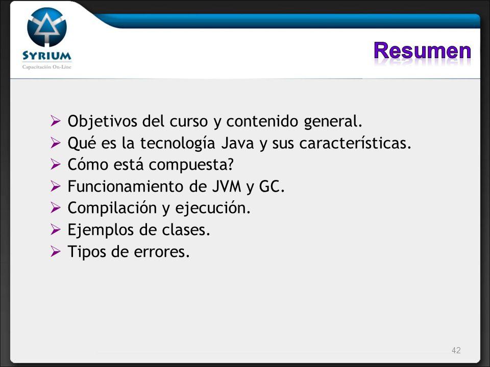 Resumen Objetivos del curso y contenido general.