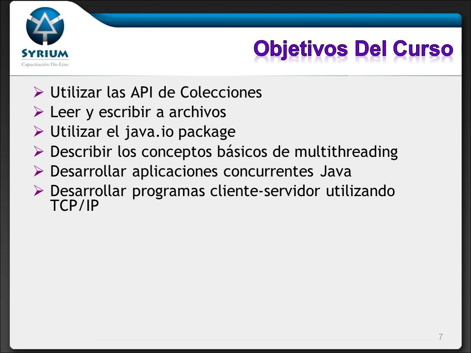 Objetivos Del Curso Utilizar las API de Colecciones