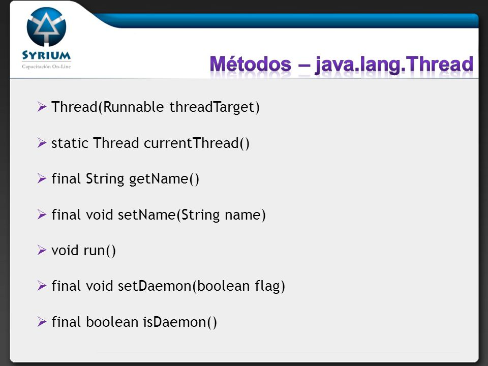 Métodos – java.lang.Thread