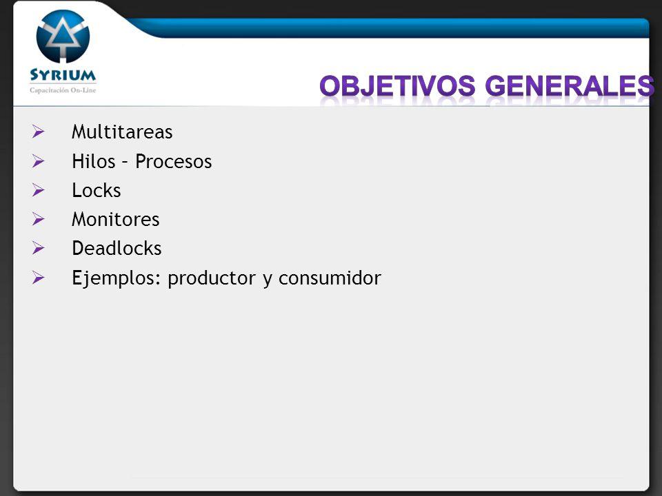 Objetivos generales Multitareas Hilos – Procesos Locks Monitores