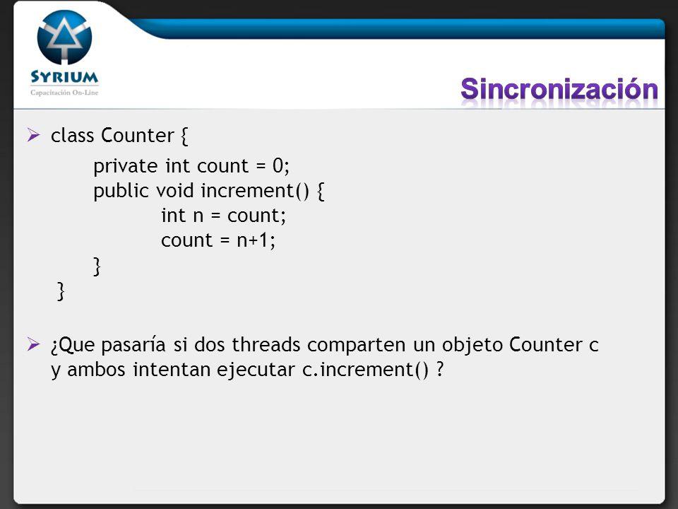 Sincronización class Counter {