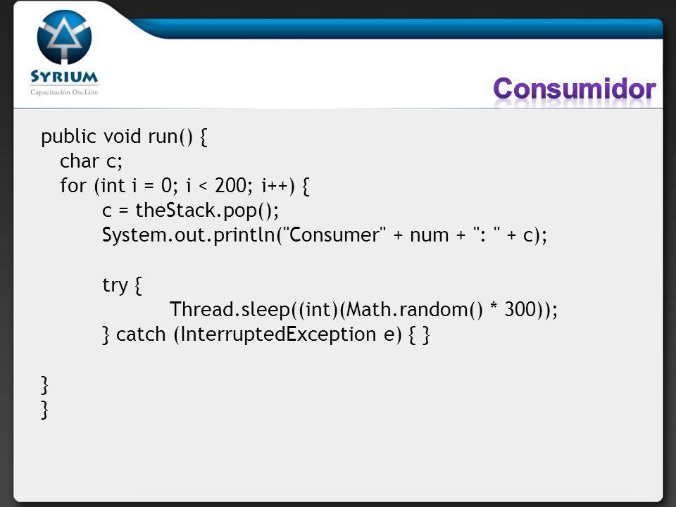 Consumidor public void run() { char c;