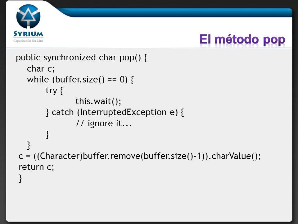 El método pop public synchronized char pop() { char c;