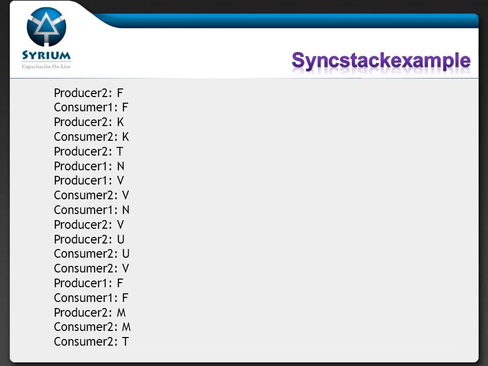 Syncstackexample Producer2: F Consumer1: F Producer2: K Consumer2: K