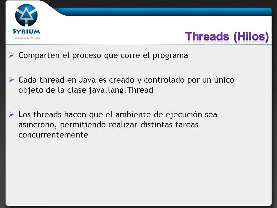 Threads (Hilos) Comparten el proceso que corre el programa
