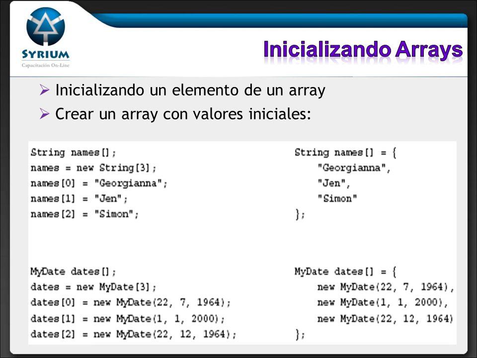 Inicializando Arrays Inicializando un elemento de un array