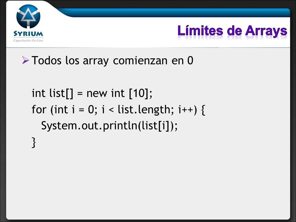 Límites de Arrays Todos los array comienzan en 0