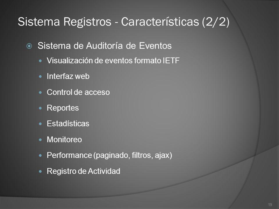 Sistema Registros - Características (2/2)