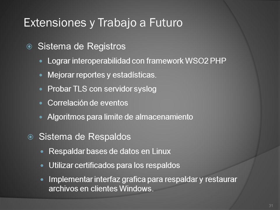 Extensiones y Trabajo a Futuro