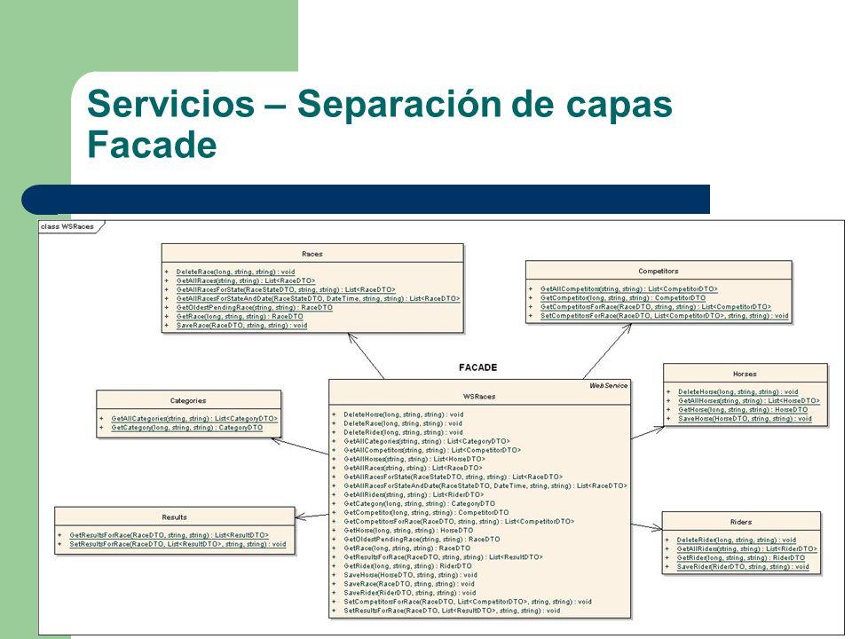 Servicios – Separación de capas Facade