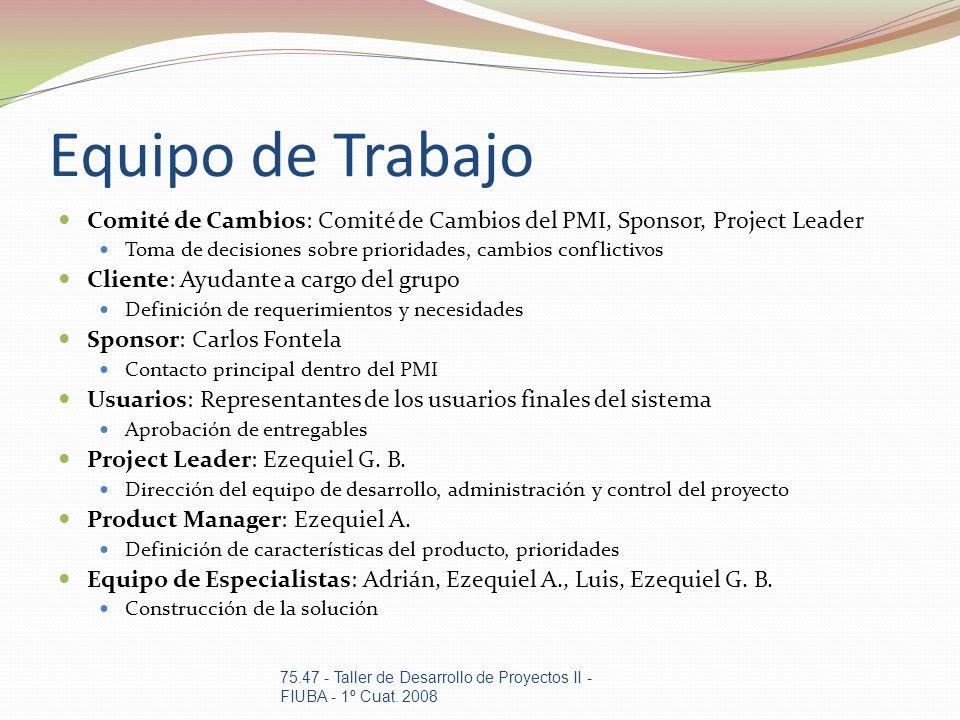 Equipo de Trabajo Comité de Cambios: Comité de Cambios del PMI, Sponsor, Project Leader. Toma de decisiones sobre prioridades, cambios conflictivos.
