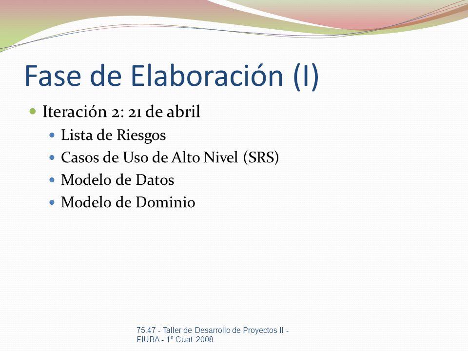 Fase de Elaboración (I)