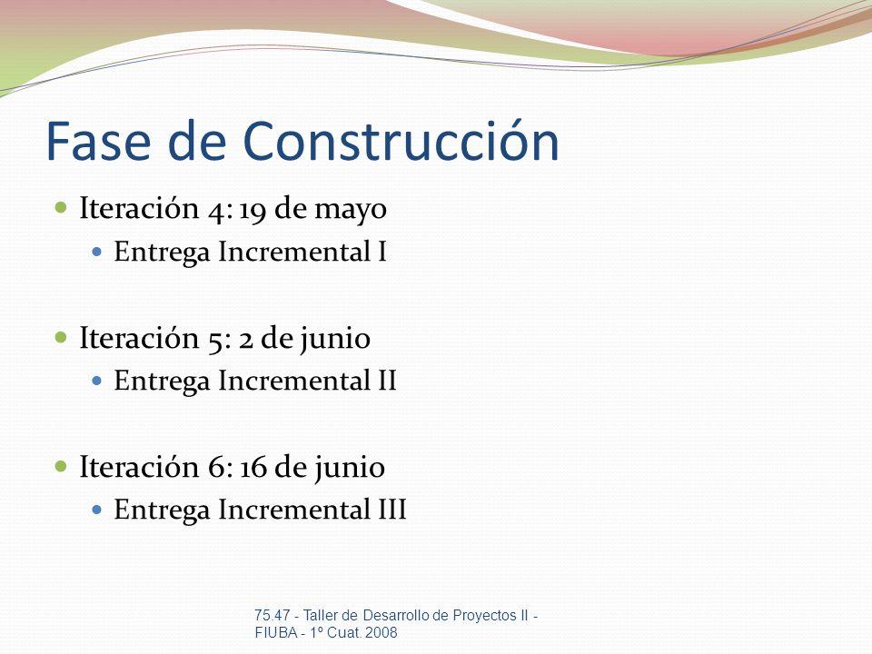 Fase de Construcción Iteración 4: 19 de mayo Iteración 5: 2 de junio