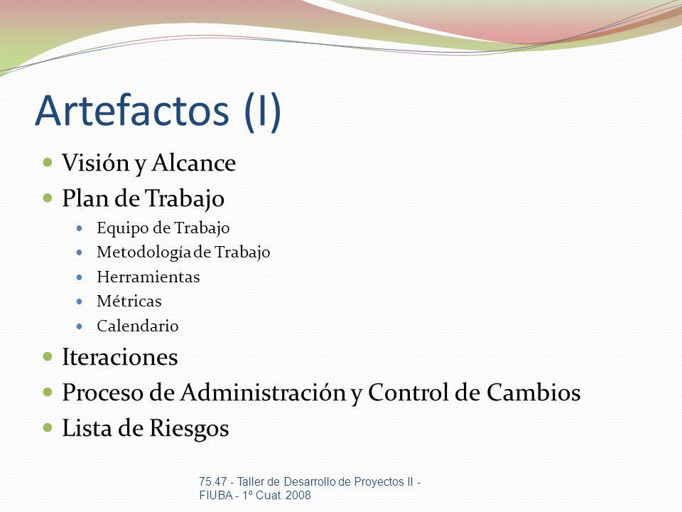 Artefactos (I) Visión y Alcance Plan de Trabajo Iteraciones