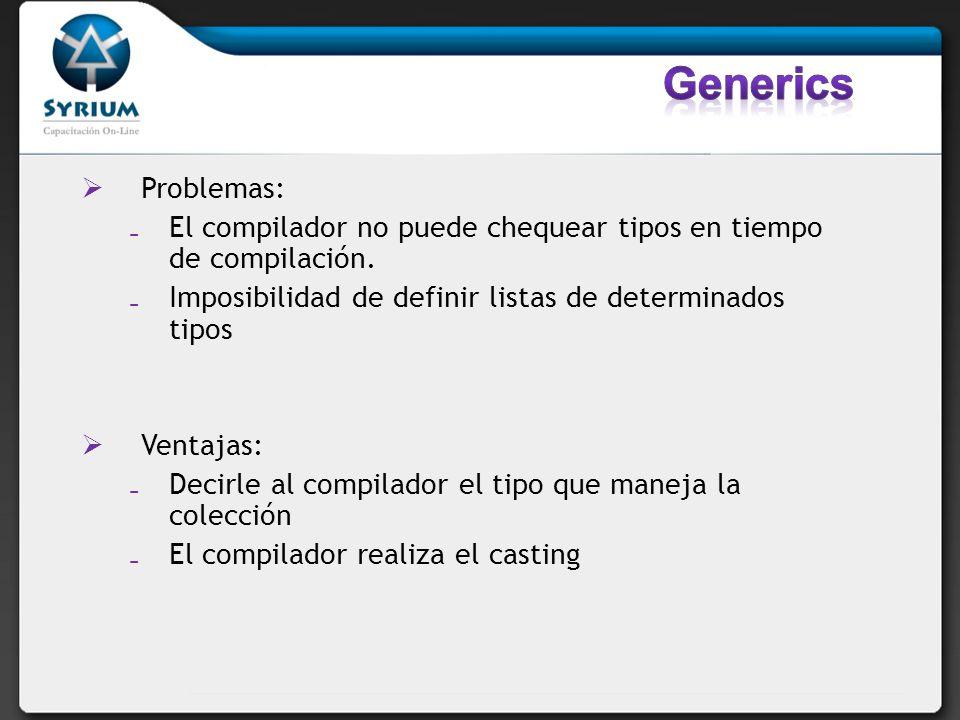 Generics Problemas: El compilador no puede chequear tipos en tiempo de compilación. Imposibilidad de definir listas de determinados tipos.