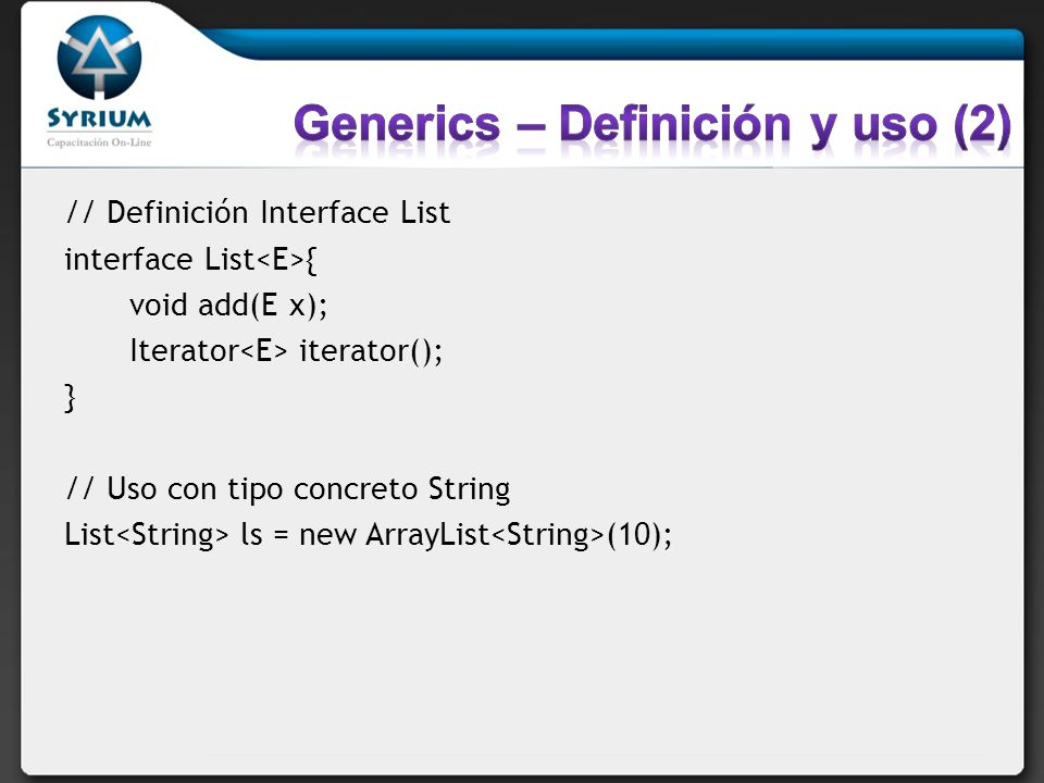 Generics – Definición y uso (2)