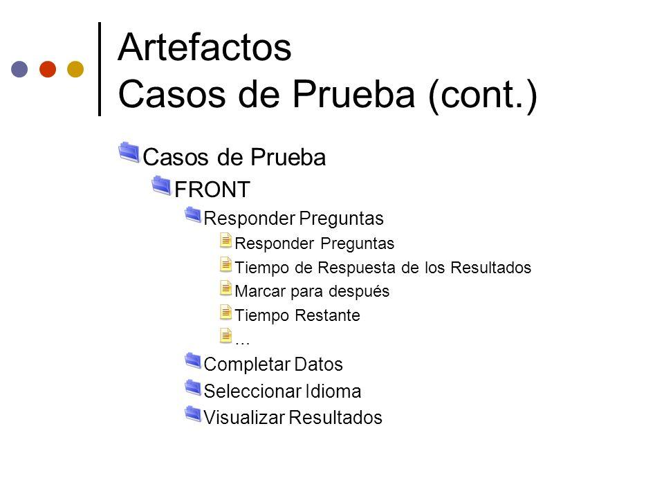 Artefactos Casos de Prueba (cont.)