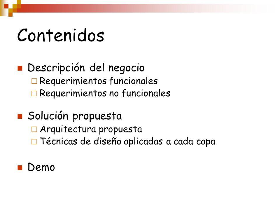 Contenidos Descripción del negocio Solución propuesta Demo