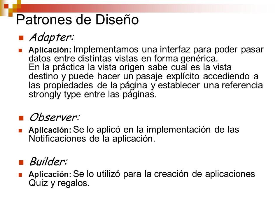 Patrones de Diseño Adapter: Observer: Builder: