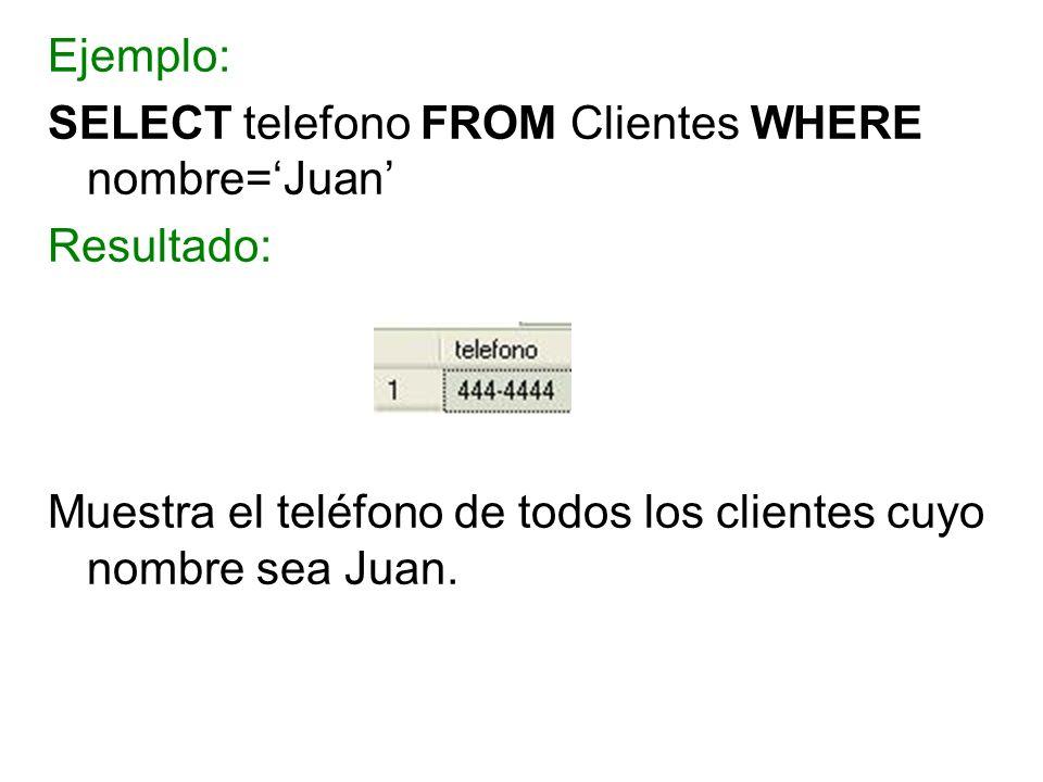 Ejemplo: SELECT telefono FROM Clientes WHERE nombre='Juan' Resultado: Muestra el teléfono de todos los clientes cuyo nombre sea Juan.